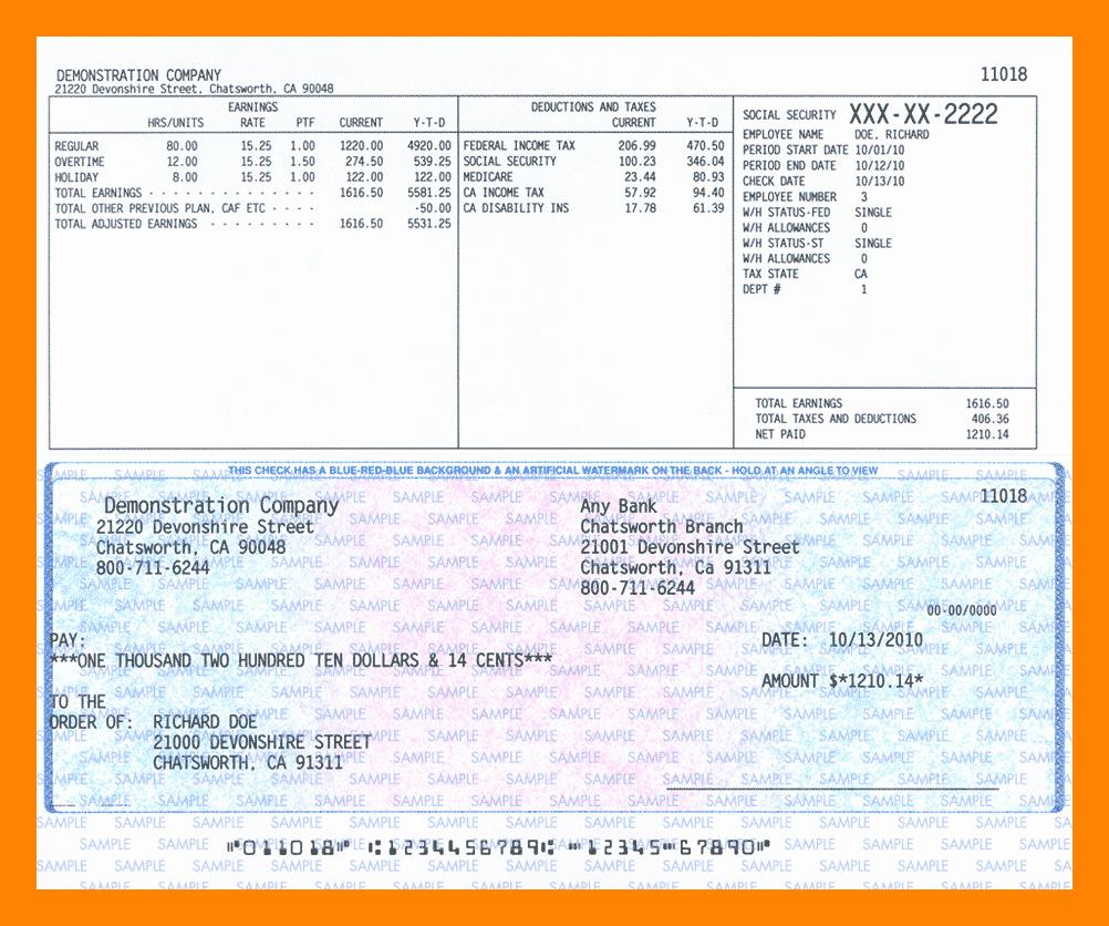 Payroll Check Printing Template Fresh 9 Payroll Checks Template