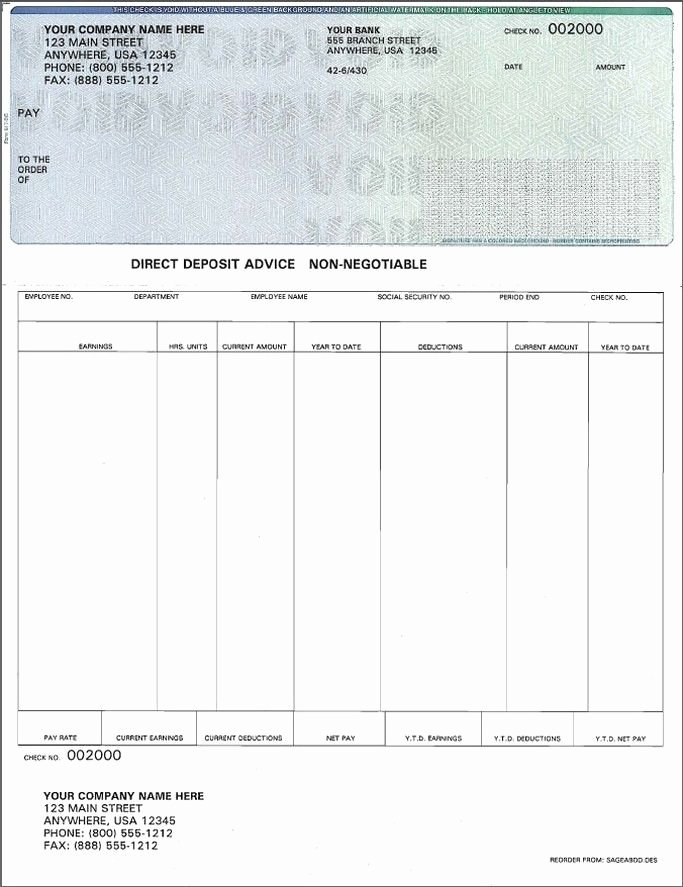 Payroll Check Printing Template New Blank Payroll Check Template Invitation Template