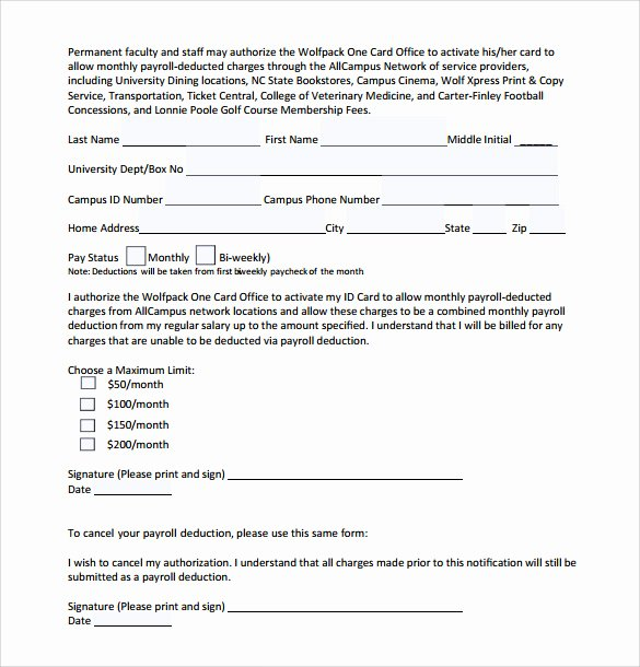 Payroll Deduction Authorization form Template Awesome 10 Payroll Deduction forms to Download
