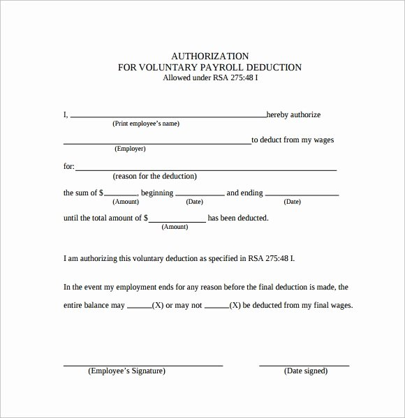 Payroll Deduction Authorization form Template Awesome 7 Payroll Authorization forms