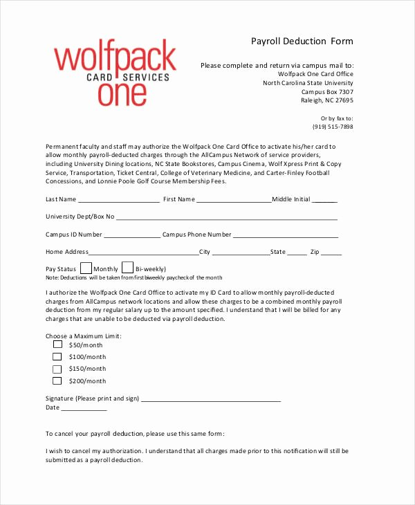 Payroll Deduction Authorization form Template Awesome Payroll Deduction Authorization form Template