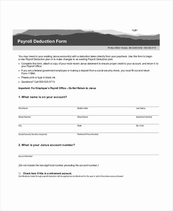 Payroll Deduction Authorization form Template Awesome Payroll Deduction form Template 10 Free Sample Example