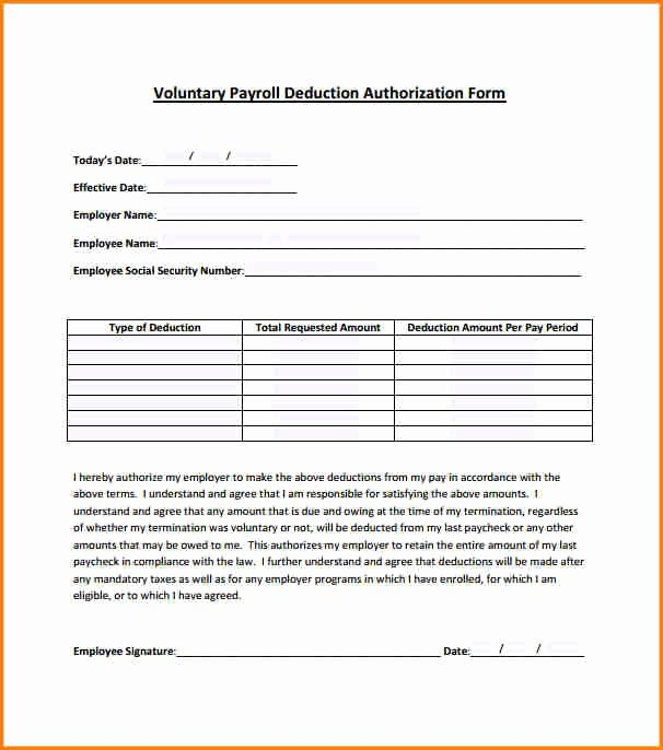 Payroll Deduction Authorization form Template Beautiful 5 Payroll forms Templates