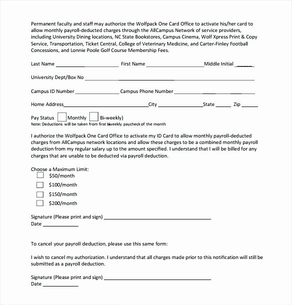 Payroll Deduction Authorization form Template Beautiful Employee Payroll Deduction form Template Loan Agreement