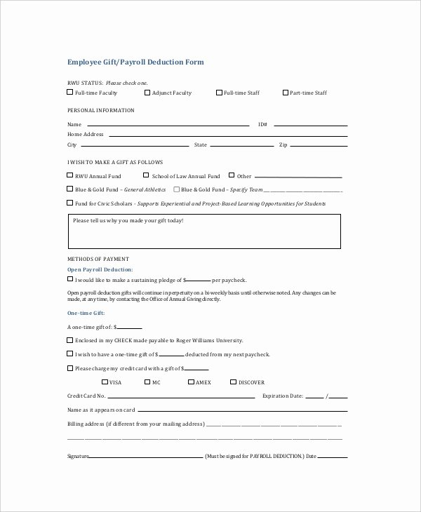 Payroll Deduction Authorization form Template Best Of Sample Payroll Deduction forms 10 Free Documents In Pdf