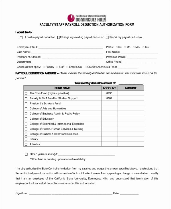 Payroll Deduction Authorization form Template Elegant Sample Payrolle Deduction form 12 Free Documents In Pdf
