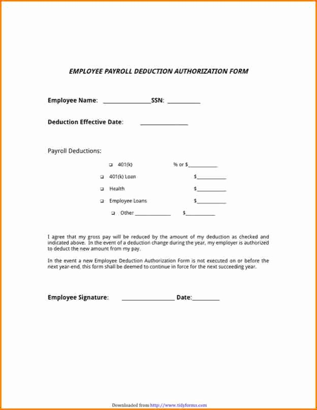 Payroll Deduction Authorization form Template Inspirational 9 Employee Payroll forms Template