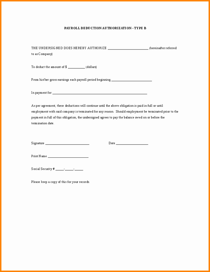 Payroll Deduction Authorization form Template Lovely Payroll Deduction Authorization form Template 13 Things