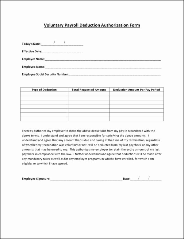 Payroll Deduction Authorization form Template Lovely Payroll Templates In Pdf