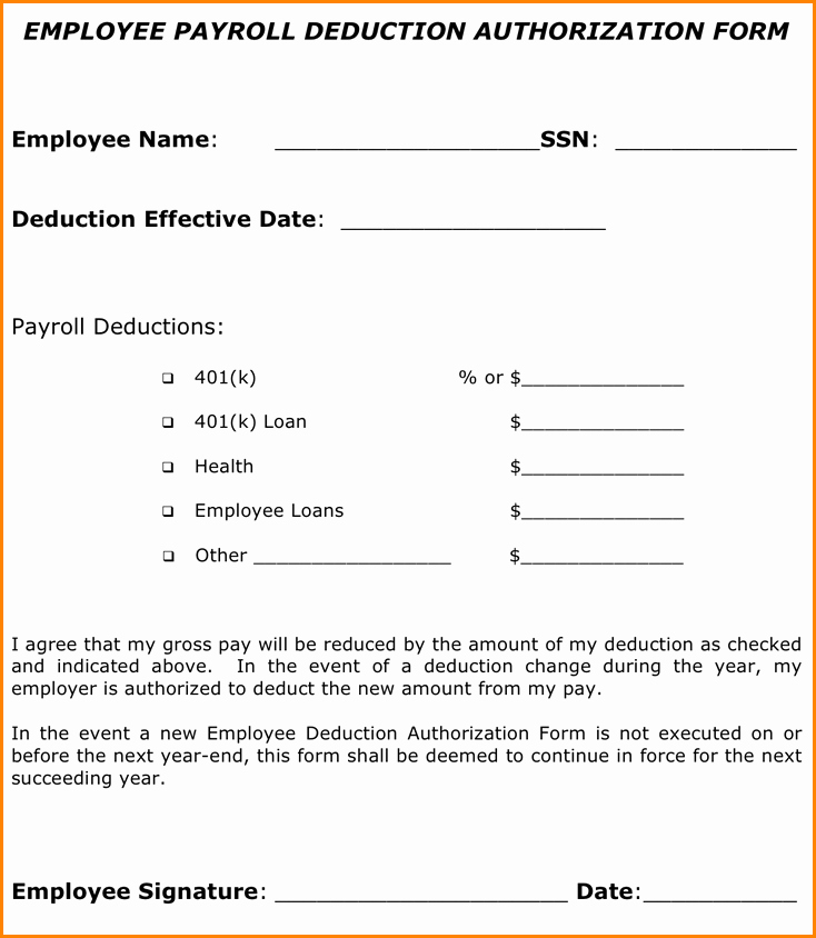 Payroll Deduction Authorization form Template Luxury 9 Employee Payroll forms Template