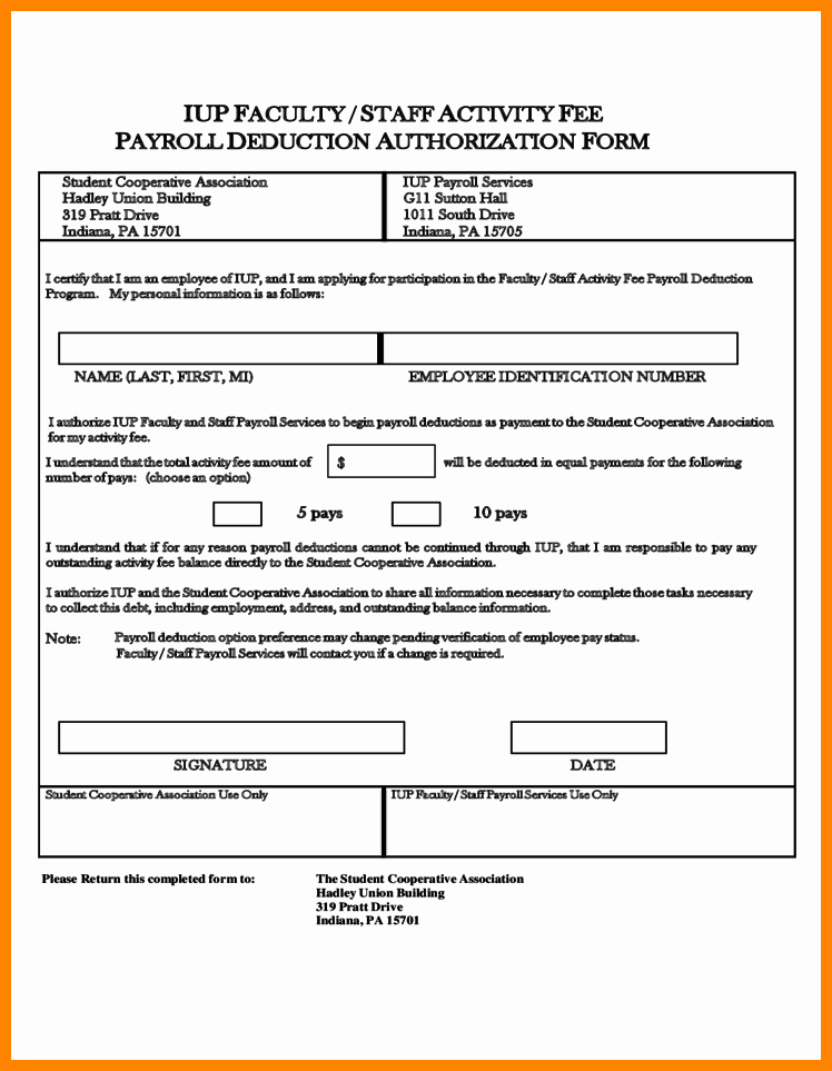 Payroll Deduction Authorization form Template Unique 10 Payroll Deduction Authorization form Template Free