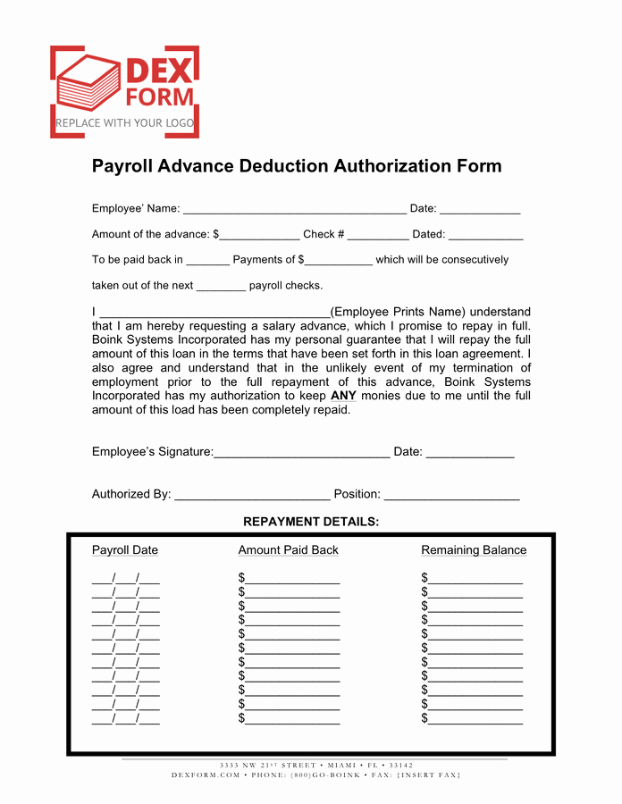 Payroll Deduction Authorization form Template Unique Payroll Advance Deduction Authorization form In Word and