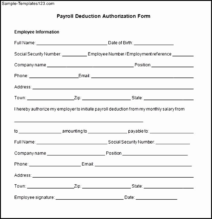 Payroll Deduction Authorization form Template Unique Payroll Deduction Authorization form Template