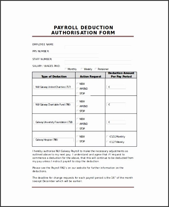Payroll Deduction form Template Awesome 8 Payroll Deduction form Template Sampletemplatess