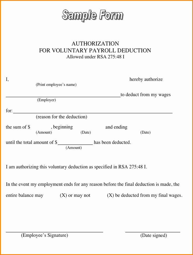 Payroll Deduction form Template Elegant 11 Payroll Deduction Agreement Template