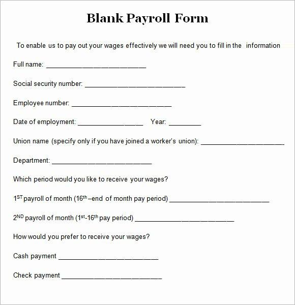 Payroll Deduction form Template Elegant 8 Blank Payroll form Templates