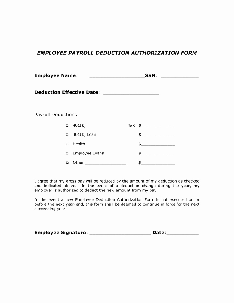 Payroll Deduction form Template Elegant Payroll Change form forms Sample forms