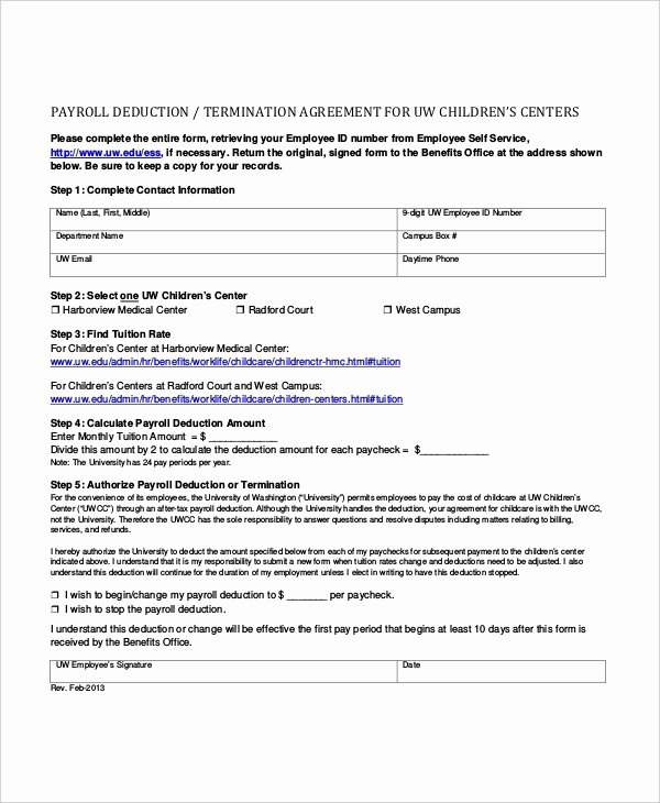 Payroll Deduction form Template Fresh Sample Payroll Deduction forms 10 Free Documents In Pdf