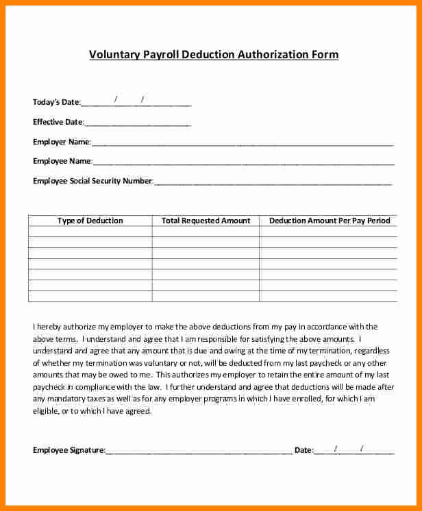 Payroll Deduction form Template Luxury 5 Payroll Deduction Agreement