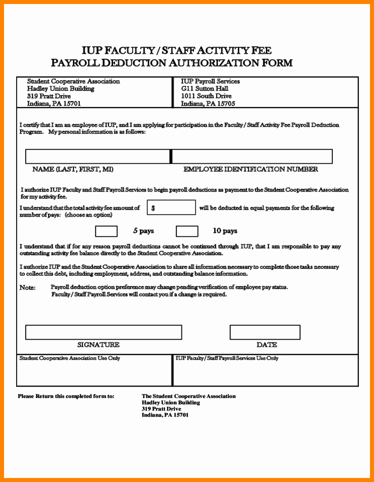 Payroll Deduction form Template Luxury 9 Payroll Deduction Authorization form