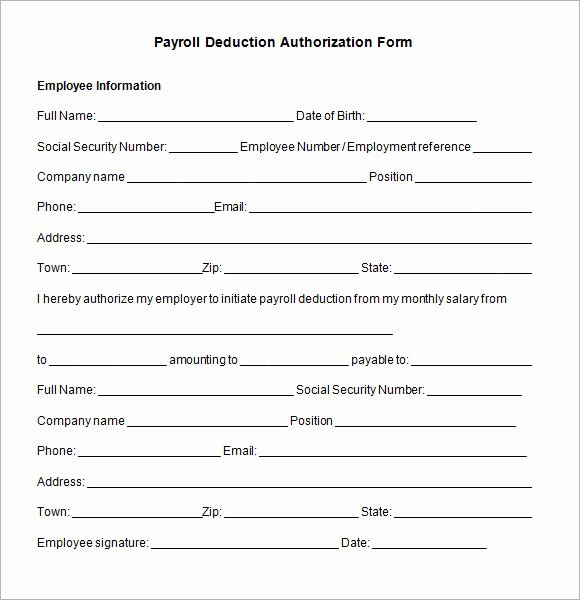 Payroll Deduction form Template New Payroll Employee Release form to Pin On Pinterest