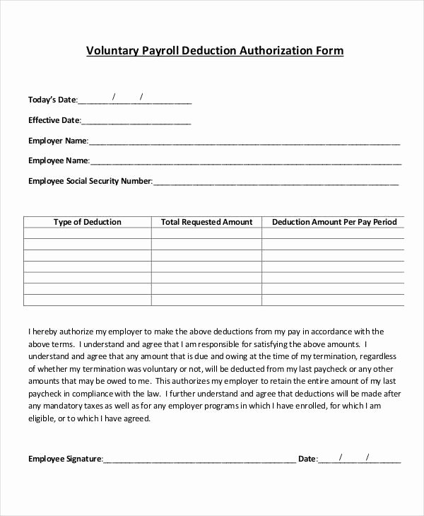Payroll Deduction form Template Unique Payroll Deduction form Template 10 Free Sample Example