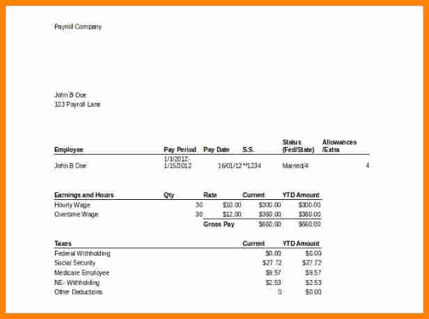 Payroll Stub Template Excel Awesome 9 Free Able Pay Stub Template