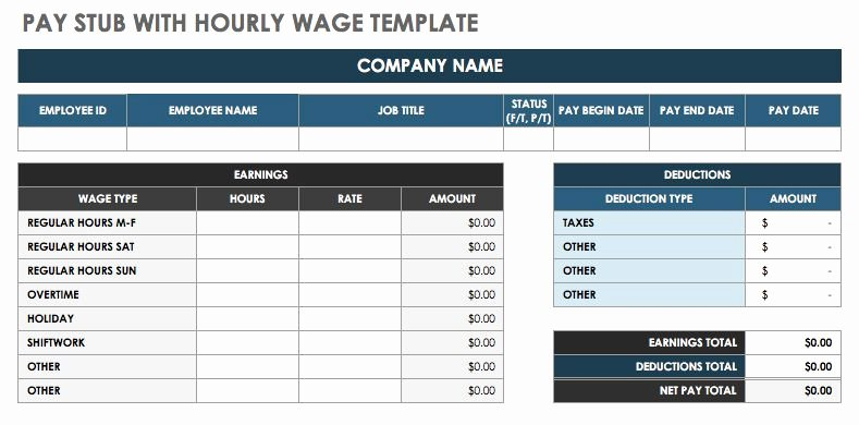 Payroll Stub Template Excel Awesome Free Pay Stub Templates