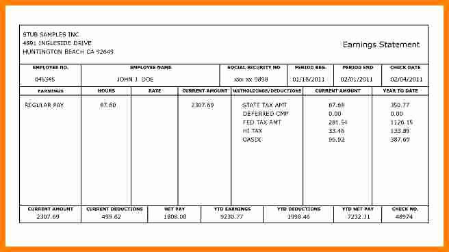 Payroll Stub Template Excel Elegant 5 Fillable Pay Stub Pdf