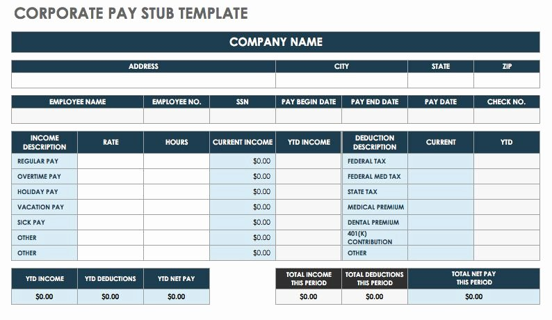 Payroll Stub Template Excel Inspirational Free Pay Stub Templates