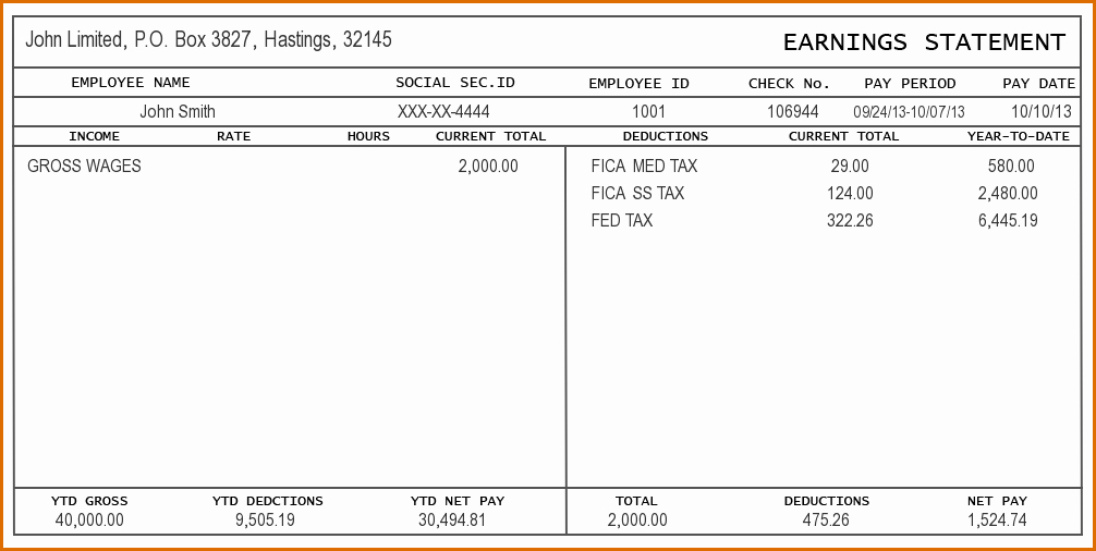 Payroll Stub Template Excel Lovely 4 Pay Stub Template Excel