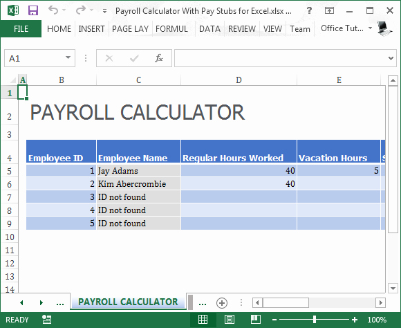 Payroll Stub Template Excel Lovely Payroll Calculator with Pay Stubs for Excel