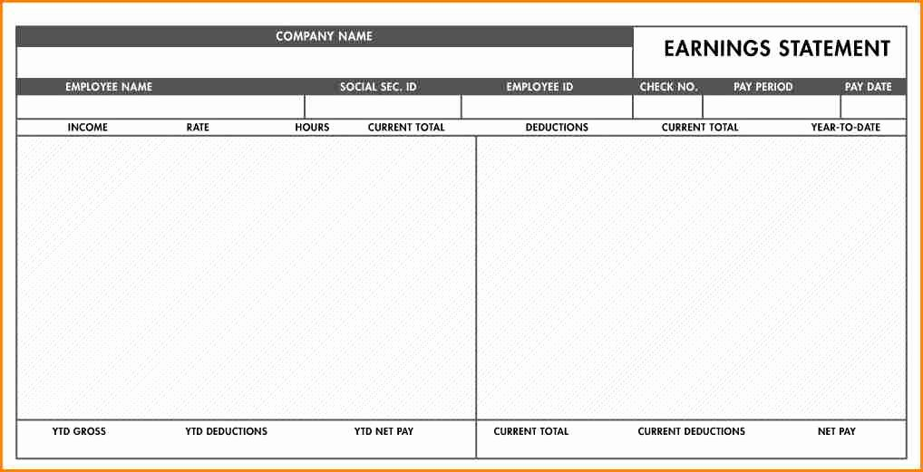 Payroll Stub Template Excel Luxury 9 Blank Paycheck Stubs