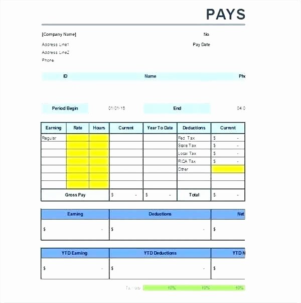 Payroll Stub Template Excel New Excel Paystub Template Free Pay Stub Template with