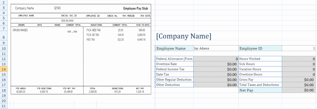 Payroll Stub Template Excel New Free Employee Pay Stub Excel Template