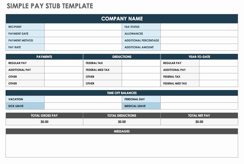 Payroll Stub Template Excel Unique Free Pay Stub Templates
