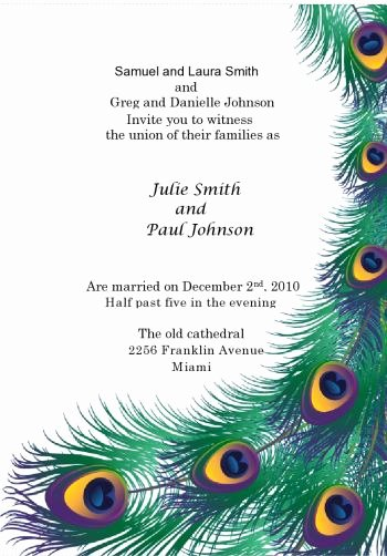 Peacock Wedding Invitations Template Awesome Creative theme Wedding Ideas