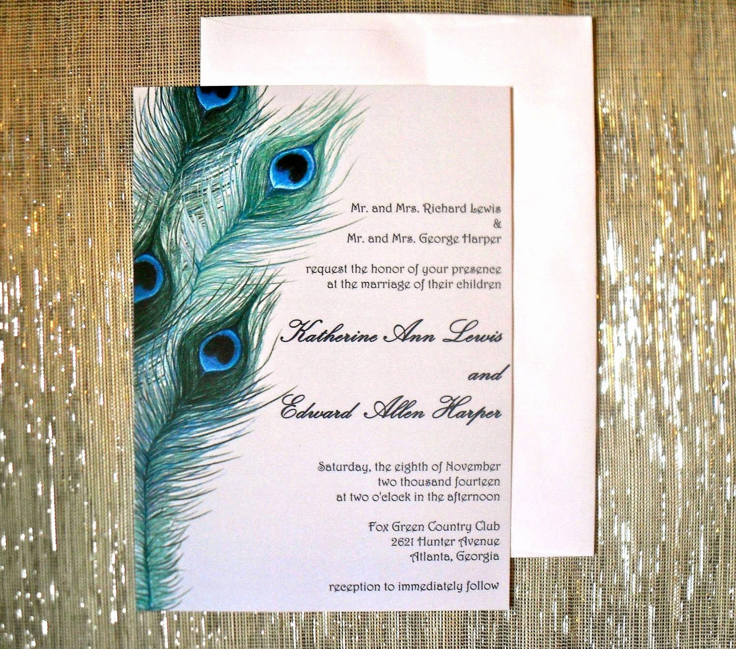 Peacock Wedding Invitations Template Awesome Peacock Invitation Cards Peacock Wedding Invites Etsy
