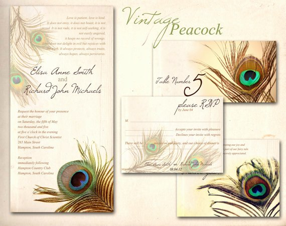 Peacock Wedding Invitations Template Awesome Peacock Wedding Invitation Printable From Abandig On Etsy