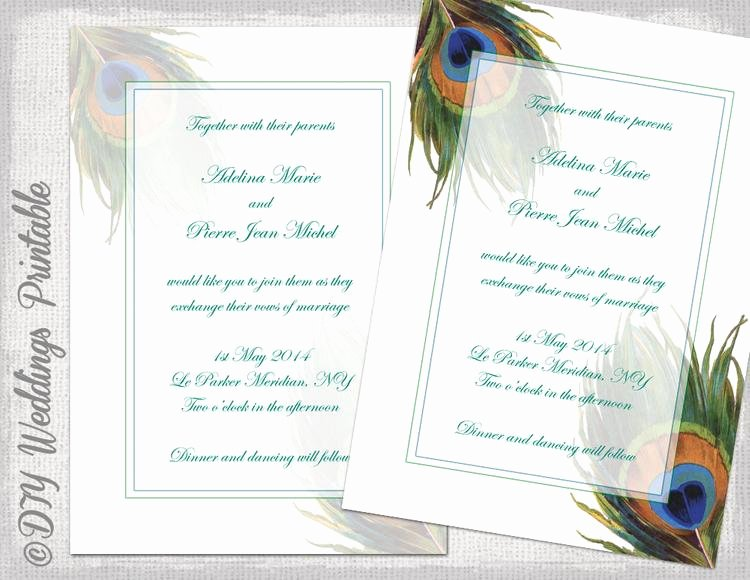 Peacock Wedding Invitations Template Awesome Peacock Wedding Invitation Template by Diyweddingsprintable