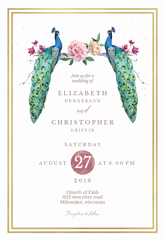 Peacock Wedding Invitations Template Awesome Peacocks In Love Wedding Invitation Template Free