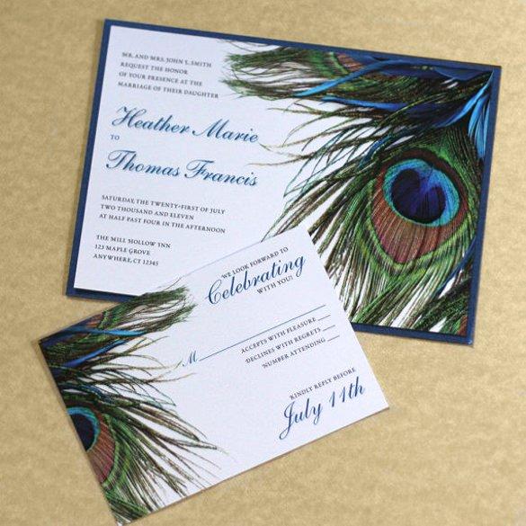 Peacock Wedding Invitations Template Beautiful 23 Peacock Wedding Invitation Templates – Free Sample