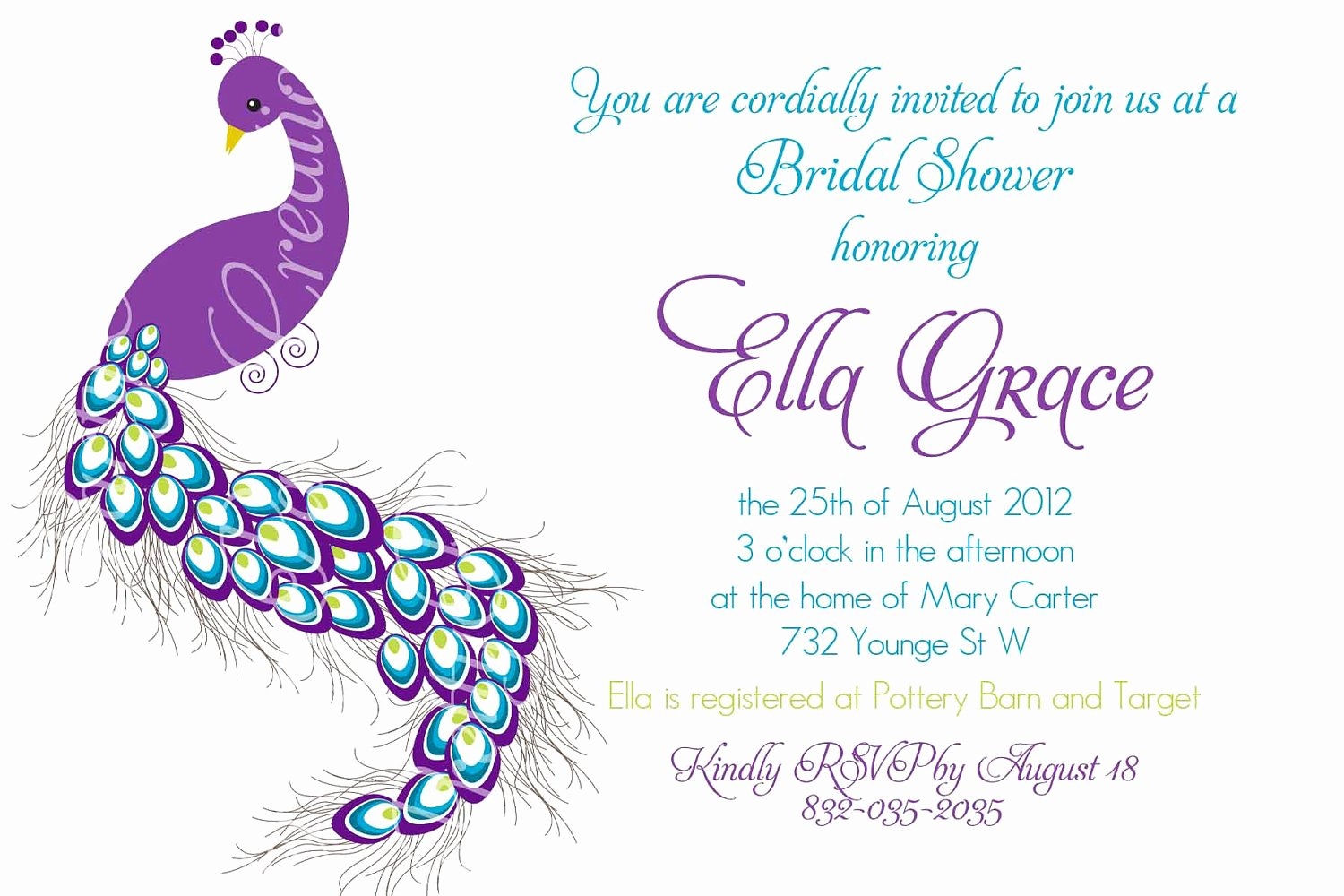 Peacock Wedding Invitations Template Beautiful Pretty Peacock Invitation Birthday Bridal Shower Baby