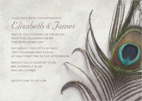 Peacock Wedding Invitations Template Elegant 23 Peacock Wedding Invitation Templates – Free Sample