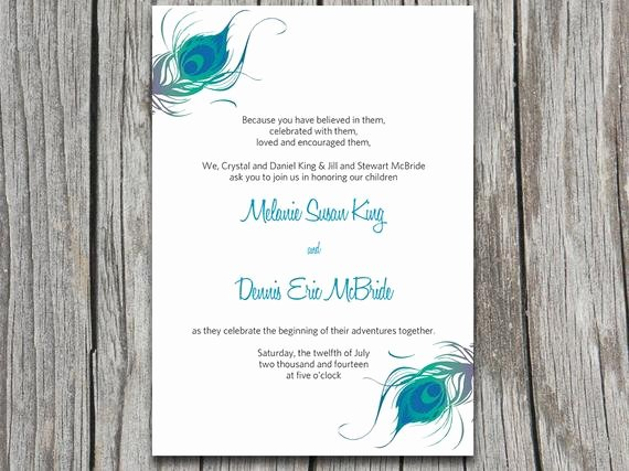 Peacock Wedding Invitations Template Elegant Items Similar to Instant Download Peacock Wedding