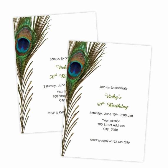 Peacock Wedding Invitations Template Elegant Peacock Feather Invitation Template