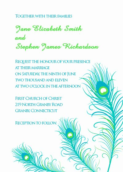 Peacock Wedding Invitations Template Elegant Peacock Feathers Wedding Invitation ← Wedding Invitation