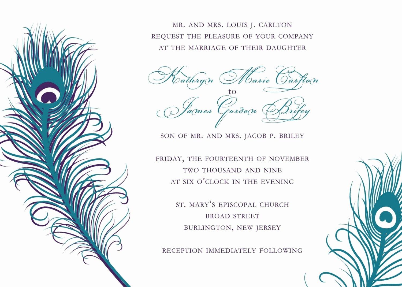Peacock Wedding Invitations Template Elegant Peacock Wedding Invitations Templates