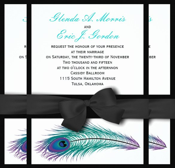 Peacock Wedding Invitations Template Fresh 13 Peacock Wedding Invitations Psd Jpg Indesign