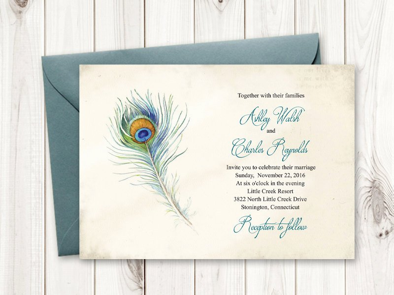Peacock Wedding Invitations Template Fresh Boho Wedding Invitation Peacock Feather Vintage
